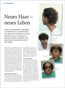 Special article New Hair - New Life, by Angela Lehmann, published in the magazine wellness life!
